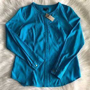 NWT Ann Taylor Blue Silk Blend Blouse Size 0